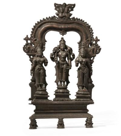 A bronze triad of Vishnu