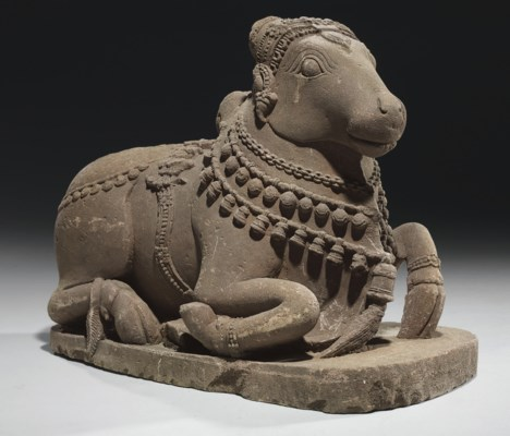 A sandstone figure of Nandi