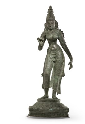A bronze figure of Parvati