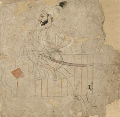 A drawing of a bearded warrior