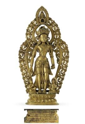 A gilt bronze figure of Avalok