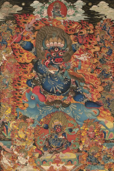 A thangka of Yama Dharmaraja w