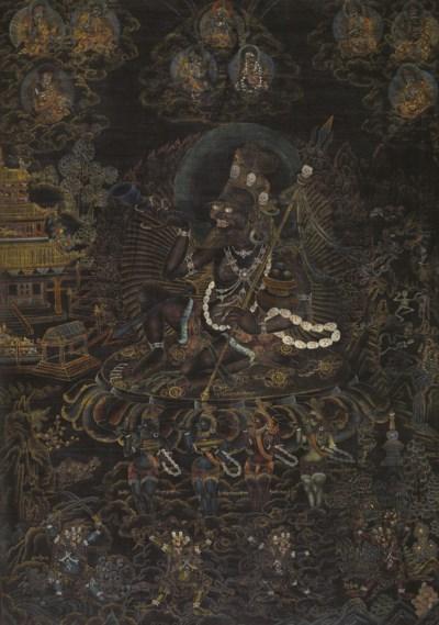 A blackground thangka of Mahak