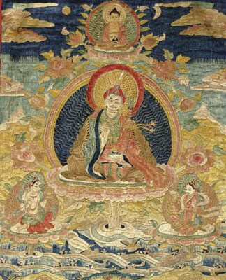 An embroidered thangka
