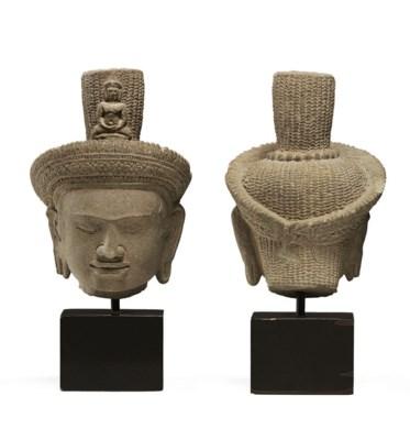 A sandstone head of Avalokites