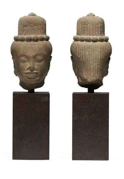A sandstone head of Shiva
