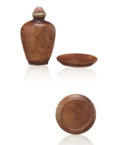 **A BURLWOOD SNUFF BOTTLE AND