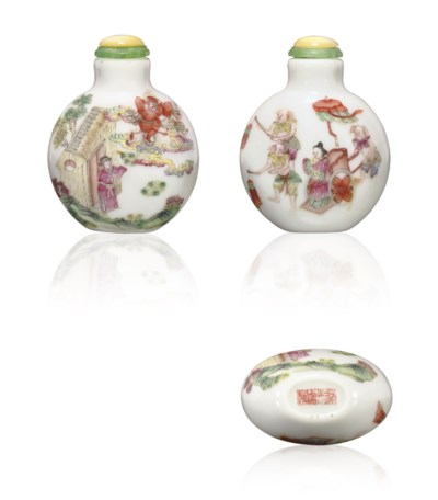 **AN ENAMELED PORCELAIN SNUFF
