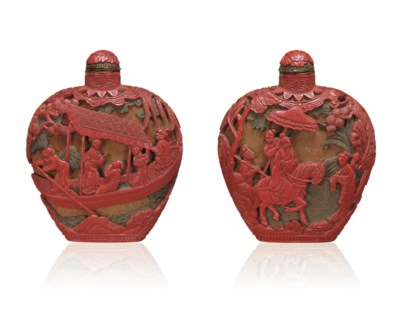 **A FINELY CARVED CINNABAR LAC