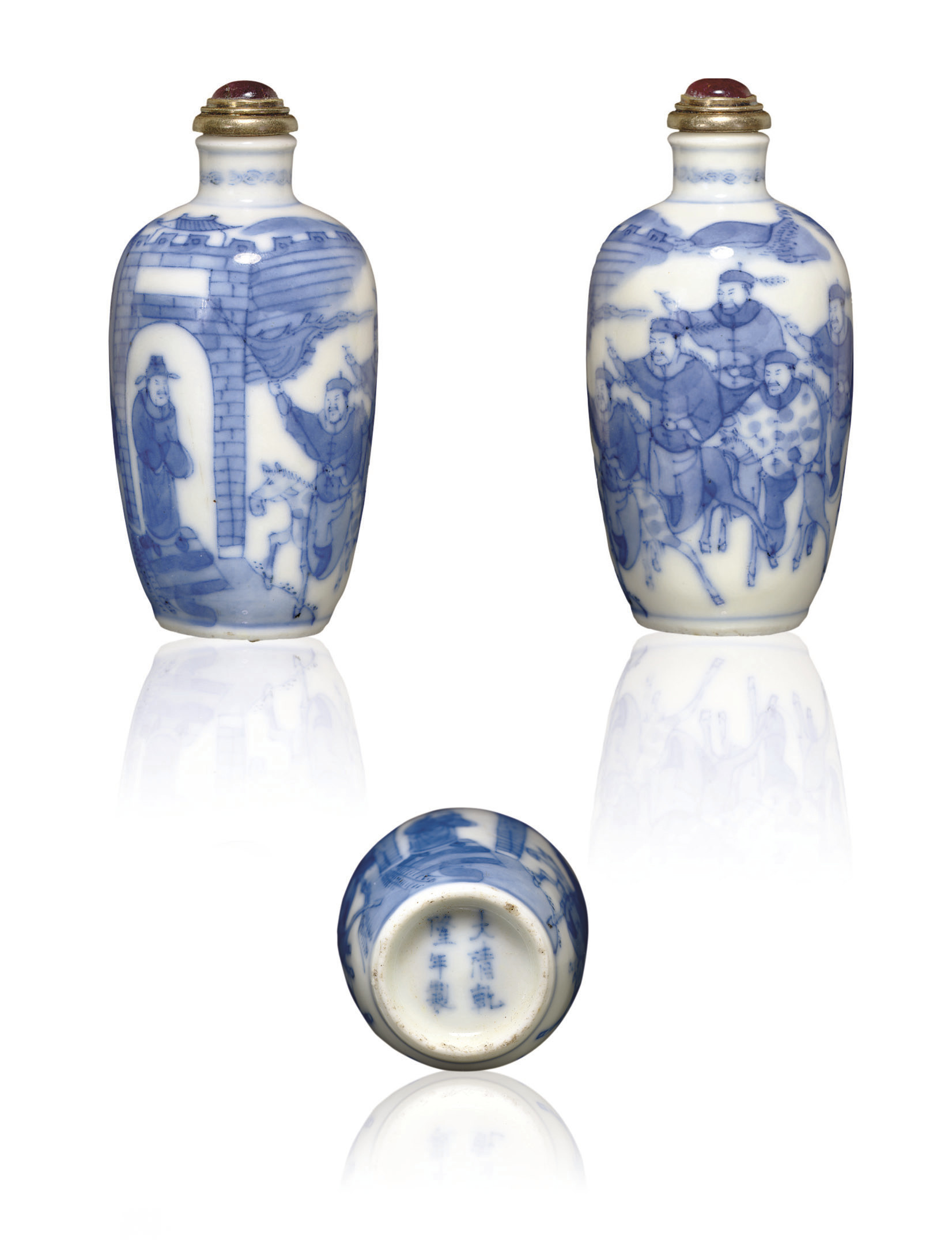 **A BLUE AND WHITE SNUFF BOTTLE