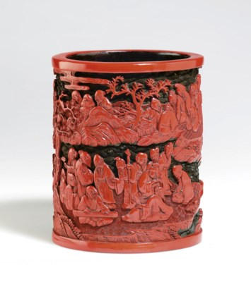 A TWO-COLOR CARVED LACQUER BRU