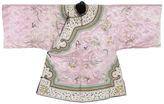 AN EMBROIDERED PALE-PINK SATIN