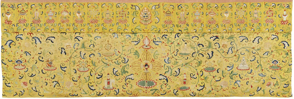 AN EMBROIDERED YELLOW-GROUND S