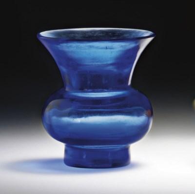 A SMALL BLUE CLEAR GLASS ZHADO
