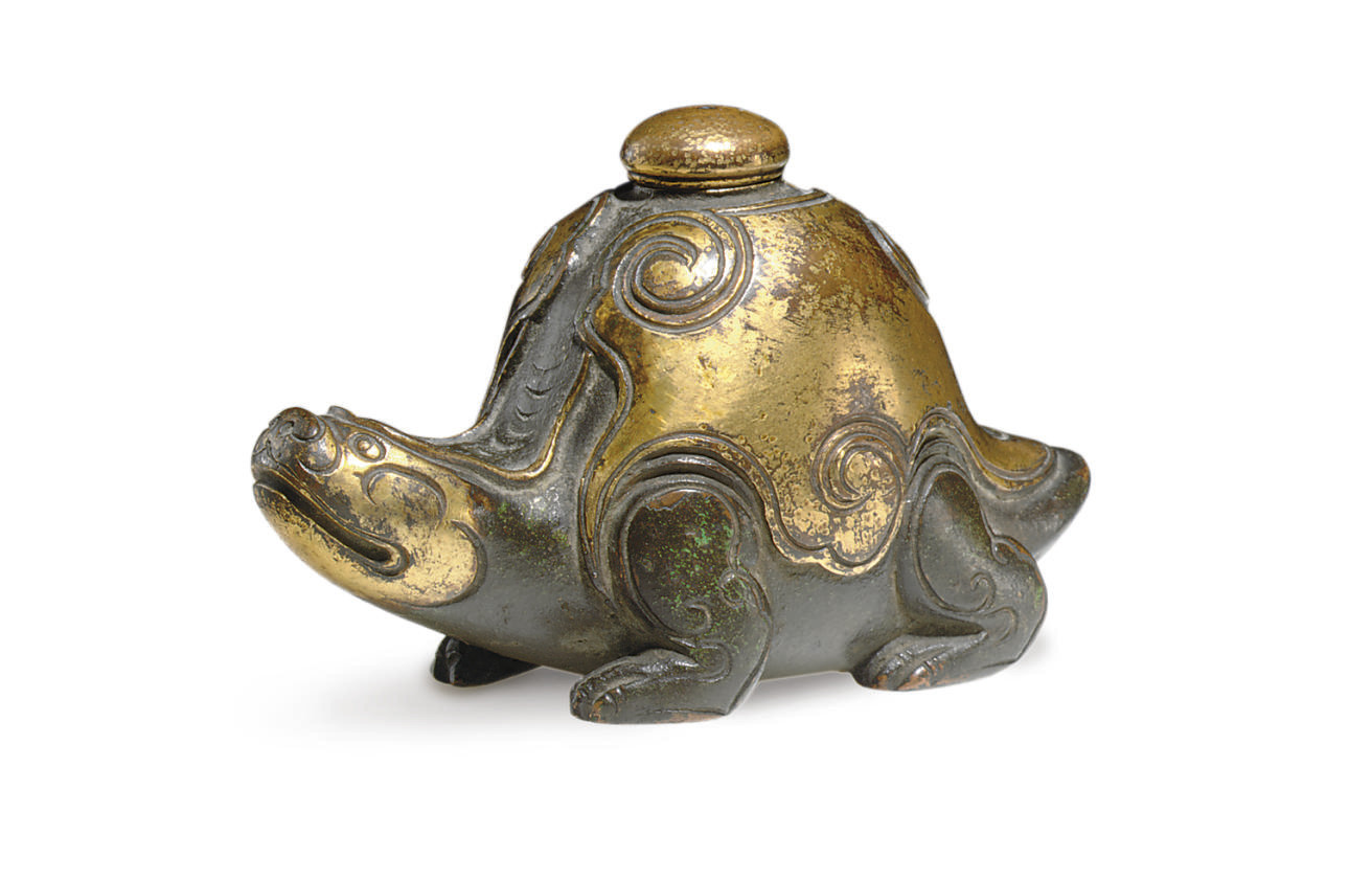 A SMALL GILT-BRONZE ZOOMORPHIC WATERDROPPER