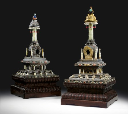 A PAIR OF HARDSTONE-INLAID SIL