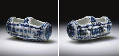 A RARE BLUE AND WHITE HEXAGONA