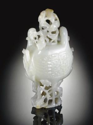 A WHITE JADE DOUBLE-BIRD-FORM
