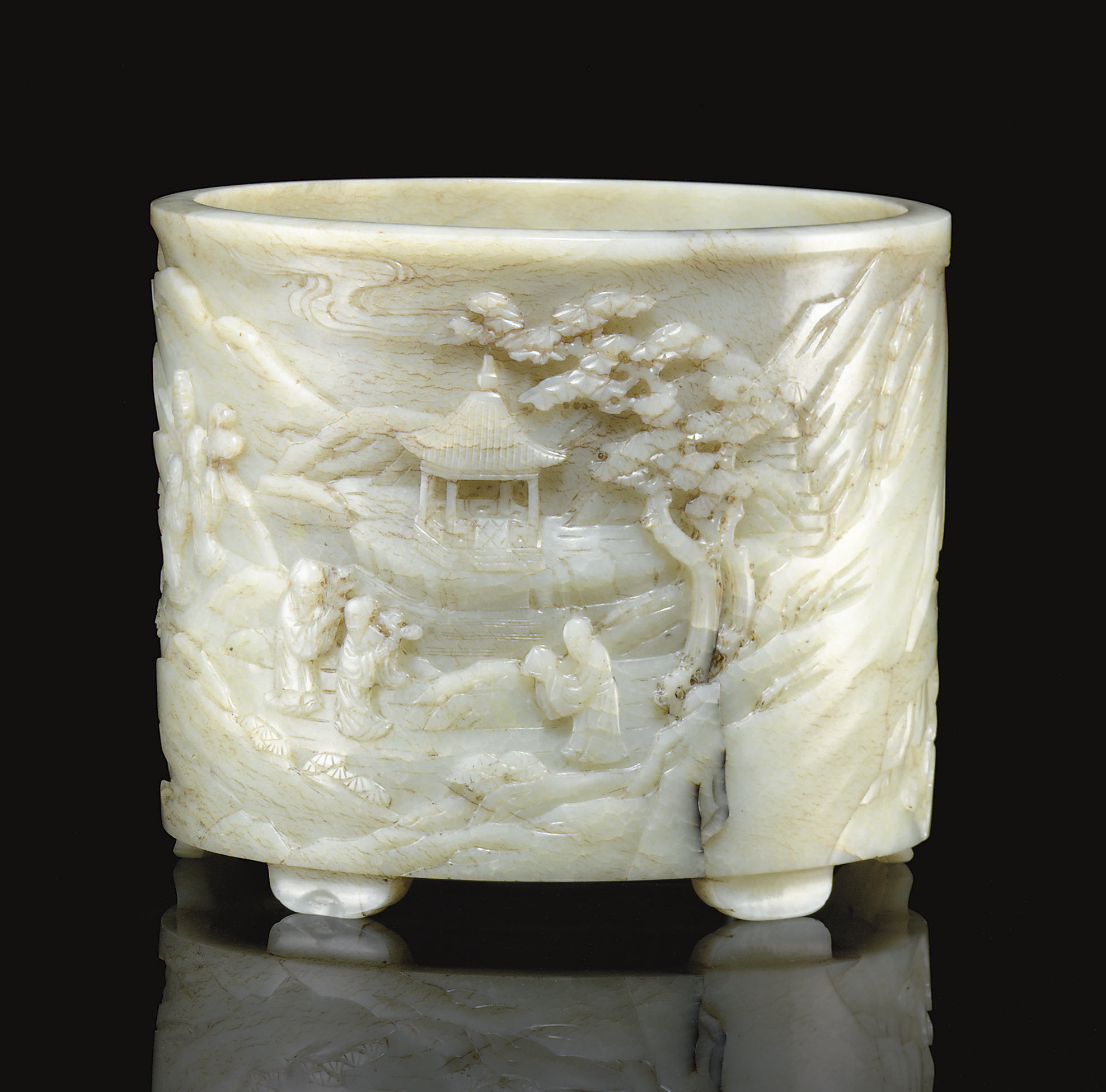 A RARE LARGE WELL-CARVED PALE GREENISH-WHITE JADE BRUSHPOT, BITONG