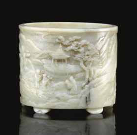 A RARE LARGE WELL-CARVED PALE GREENISH-WHITE JADE BRUSHPOT,