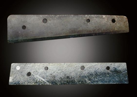 TWO LARGE EARLY JADE BLADES, D