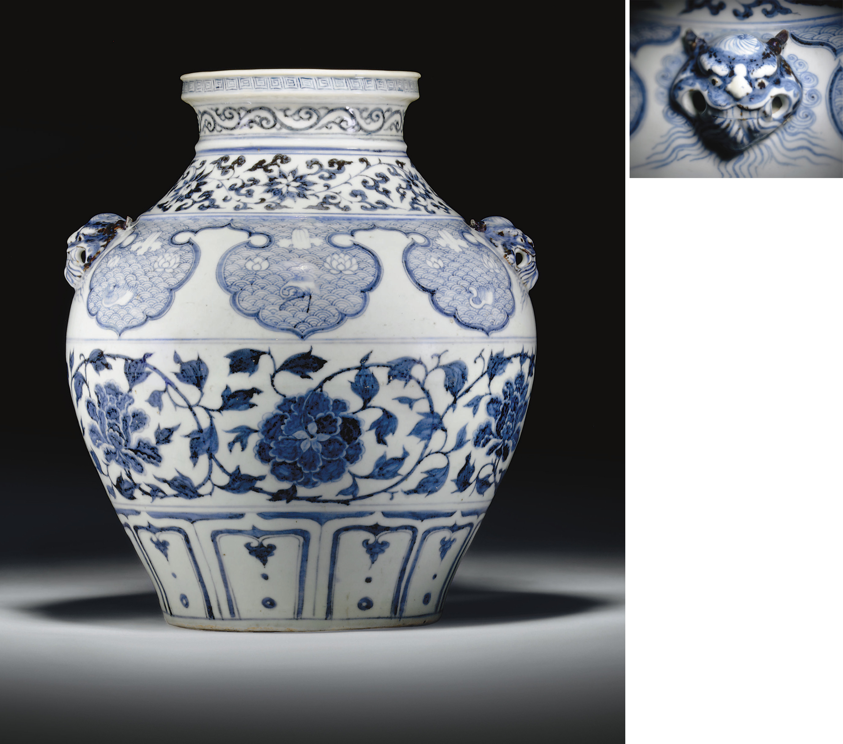 A RARE LARGE BLUE AND WHITE JAR, GUAN
