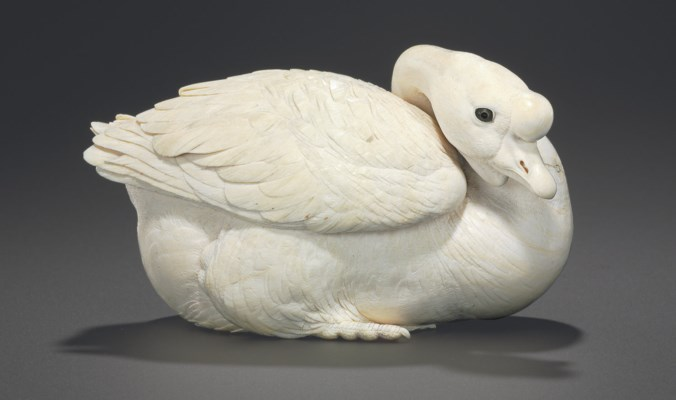 An Ivory Model of a Goose**