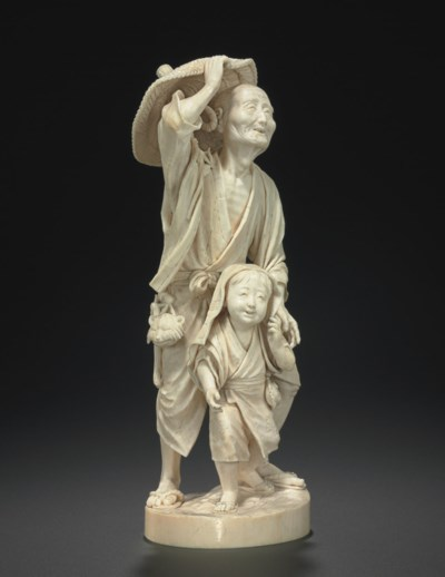 An Ivory Model of an Old Man a