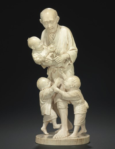An Ivory Model of a man with T