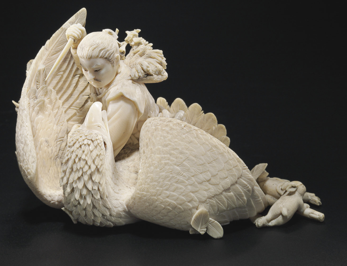 An Ivory Model of a Hunter Killing an Eagle**