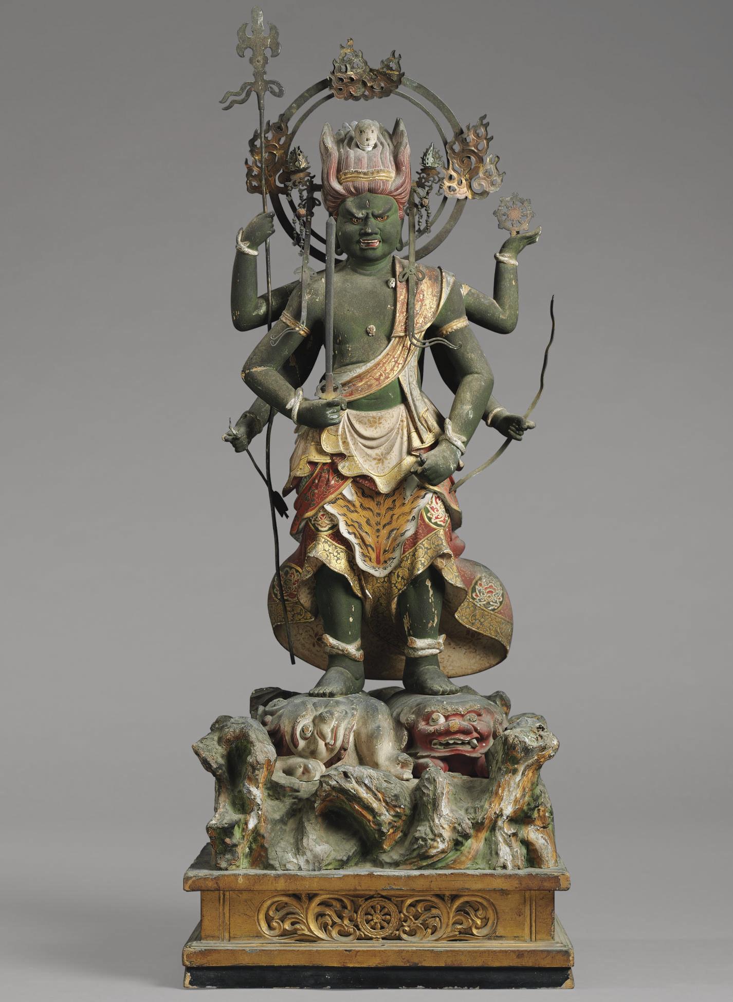 A Wood Figure of Gundari Myo-o (Kundali)