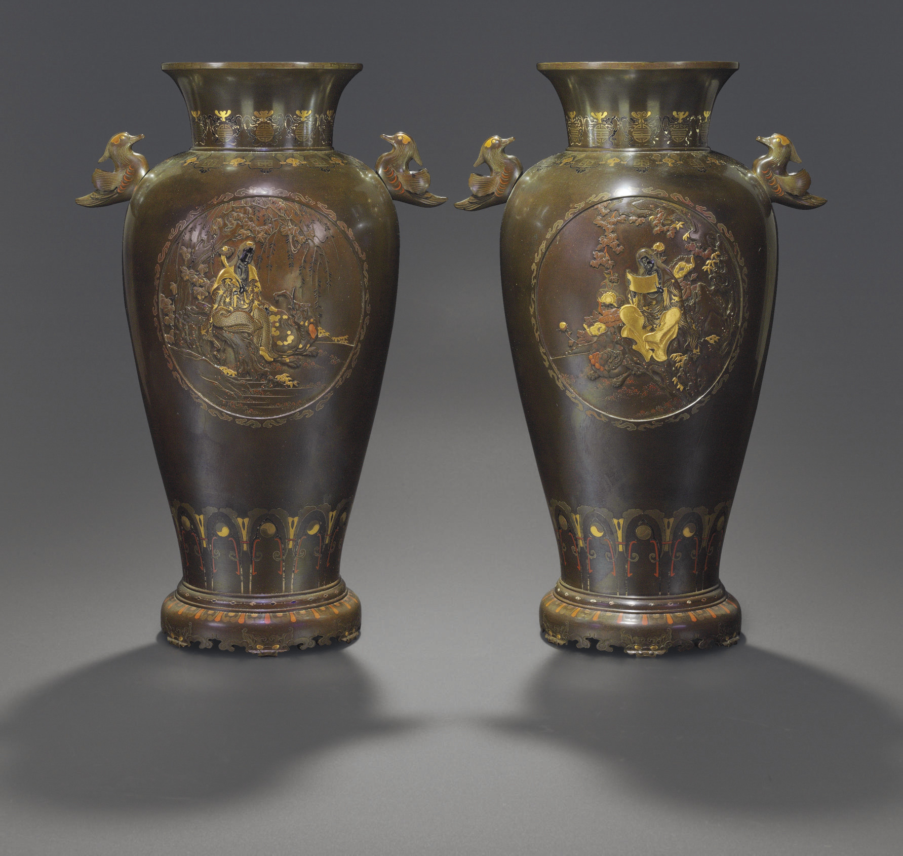 A Pair of Soft-Metal Inlaid Br