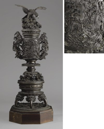 A Monumental Bronze Incense Bu