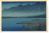 Getsumei no Kamoko (Sado) (Moonlight over Lake Kamo, [Sado]), from the series Tabimiyage dainishu (Souvenirs of travel--second series), 1921.8.16