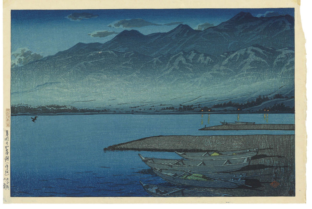 Getsumei no Kamoko (Sado) (Moonlight over Lake Kamo, [Sado]), from the series Tabimiyage dainishu (Souvenirs of travel--second series), 1921.8.16