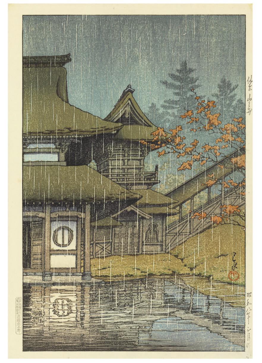 Sendai Yamadera (Mountain temple, Sendai), from the series Nihon fukei shu higashi Nihon hen (Collection of scenic views of Japan: Eastern Japan), 1933.3  Chihan no ame (Matsue) (Lakeside shower [Matsue]), 1932.2  Shinobazu no ike no ame (Rain at Shonobazu Pond), from the series Tokyo nijukkei (Twenty views of Tokyo), [first published 1929]