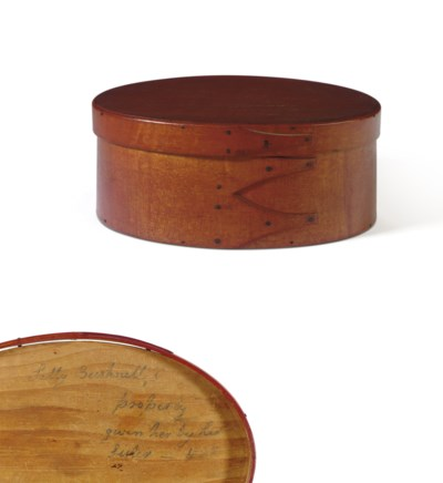 A SHAKER RED-PAINTED OVAL BOX