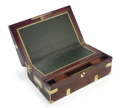 A brass bound mahogany lap des