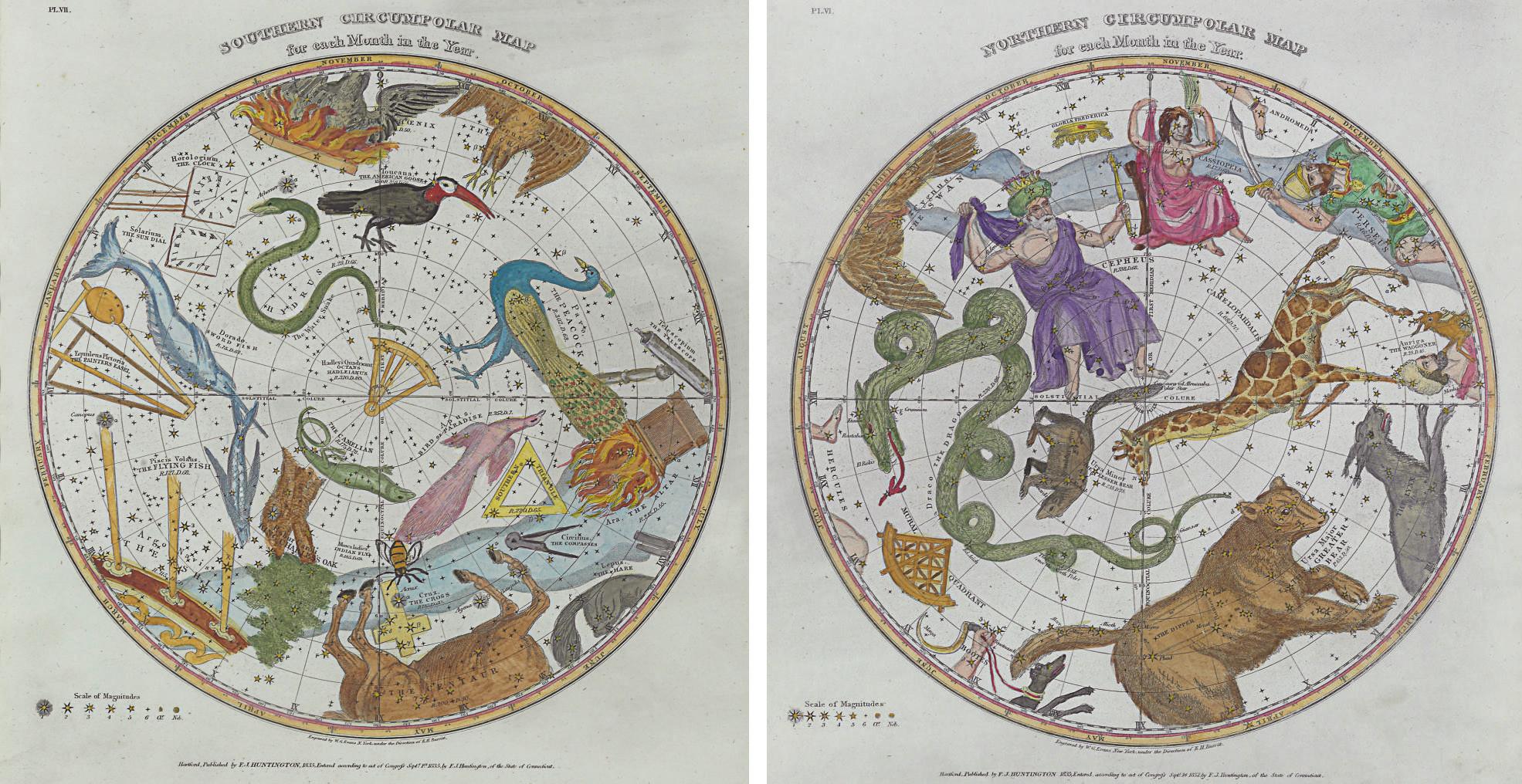 A set of six framed hand-color