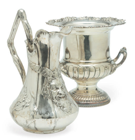 A PAIR OF SILVER-PLATED WINE C