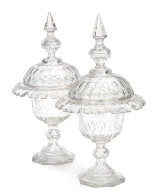 A PAIR OF ENGLISH CUT GLASS SW