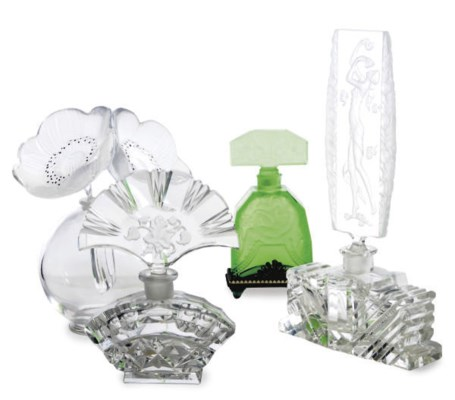 TWO GLASS SCENT BOTTLES AND ST