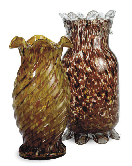 TWO PAIRS OF SPATTER GLASS VAS