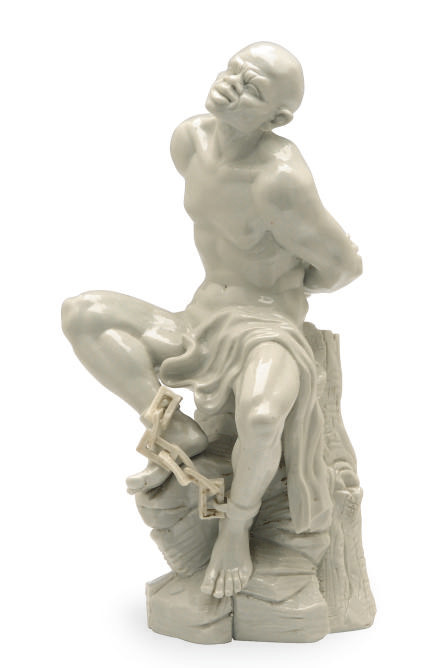 A PORCELAIN SEATED SLAVE IN CH