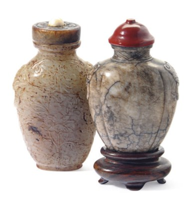 TWO CHINESE CARVED JADE SNUFF