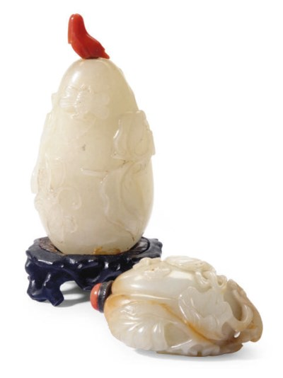 TWO CHINESE CARVED WHITE JADE
