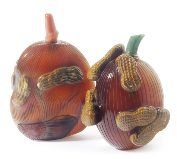TWO CHINESE AGATE JUJUBE AND P