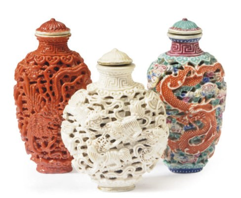 THREE CHINESE MOLDED PORCELAIN