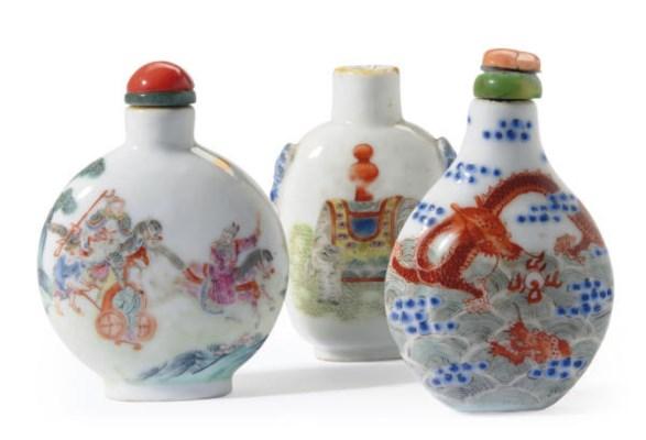 THREE CHINESE ENAMELED PORCELA