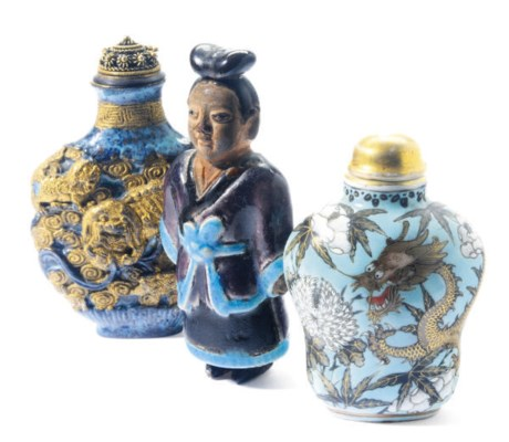 TWO CHINESE PORCELAIN SNUFF BO